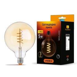 Лампа LED  VIDEX Filament G125FASD 5W E27 2200K 220V димерна