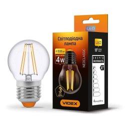Лампа LED  VIDEX Filament G45F 4W E27 3000K 220V