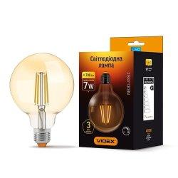 Лампа LED  VIDEX Filament G95FAD 7W E27 2200K 220V димерна