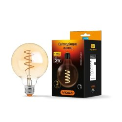 Лампа LED  VIDEX Filament G95FASD 5W E27 2200K 220V димерна