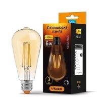 Фото Лампа LED  VIDEX Filament ST64FAD 6W E27 2200K 220V димерна