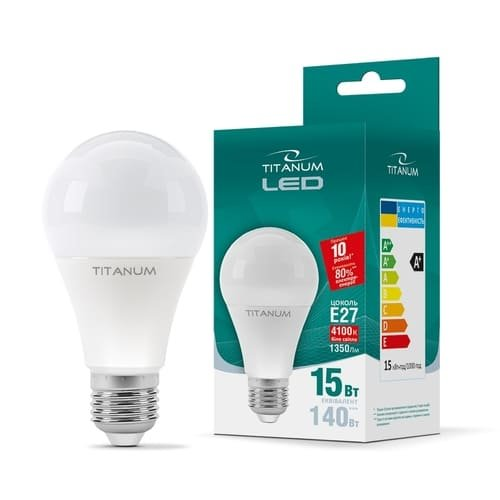 Фото Лампа LED  TITANUM A65 15W E27 4100K 220V Электробаза