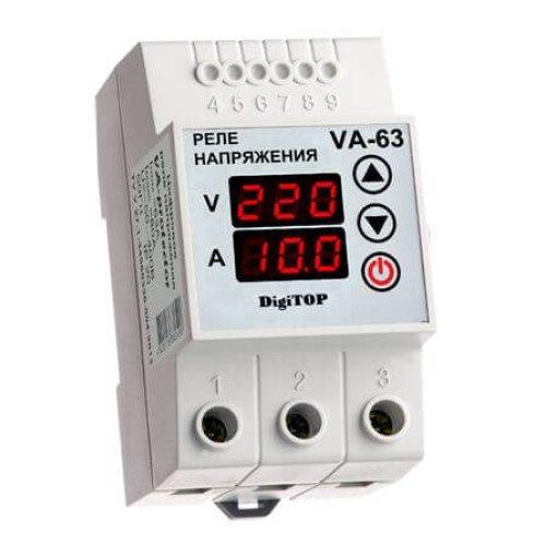 Реле напряжения с контролем тока V-protector VА-63А DigiTOP