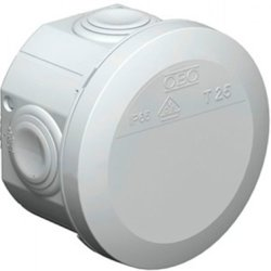 Коробка розподільча Obo Bettermann T 25, d80, IP 65, світлосіра, з кабельними вводами