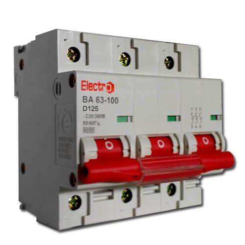 Фото Автоматический выключатель ВА 63-100 125А на DIN-рейку, 3пол. тип D 6кА Electro Электробаза