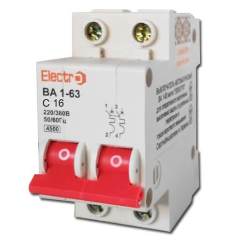 Фото Автоматический выключатель ВА 1-63 2П/16А, С 4,5кА Electro Электробаза