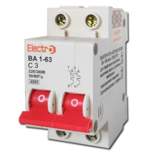 Фото Автоматический выключатель ВА 1-63 2П/3А, С 4,5кА Electro Электробаза