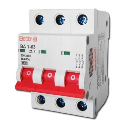 Фото Автоматический выключатель ВА 1-63 3П/1,6А, С 4,5кА Electro Электробаза