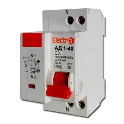 Фото Дифференциальный автомат АД 1-40 1P+N 50А 30 mA тип С 6кА Electro Электробаза