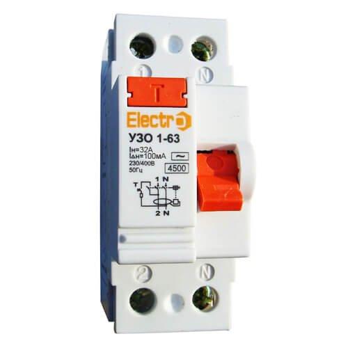 Фото Устройство защитного отключения УЗО 1-63 1P+N 32А 100 mA тип С 4,5кА Electro Электробаза