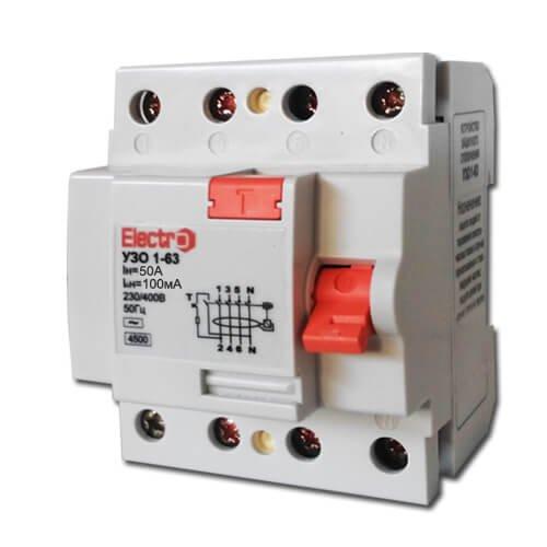 Фото Устройство защитного отключения УЗО 1-63 3P+N 50А 100 mA тип С 4,5кА Electro Электробаза