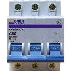 Автоматический выключатель Аско ВА2001 3Р С 50А