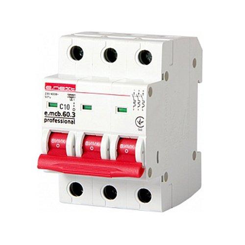 Фото Трёхфазный автоматический выключатель 3р, 10А, C, 6кА new, e.mcb.pro.60.3.C 10 new Электробаза