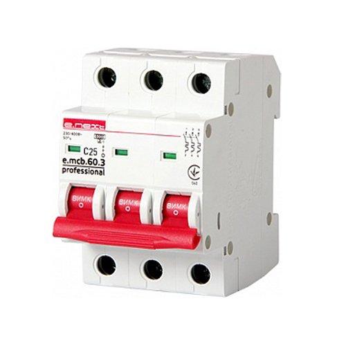 Фото Трёхфазный автоматический выключатель 3р, 25А, C, 6кА new, e.mcb.pro.60.3.C 25 new Электробаза