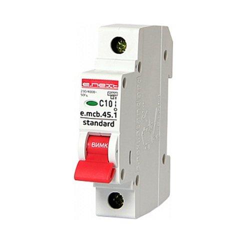 Фото Однополюсный автоматический выключатель 1р, 10А, C, 4.5 кА, e.mcb.stand.45.1.C10 Электробаза
