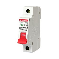 Однополюсный автоматический выключатель 1р, 16А, C, 4.5 кА, e.mcb.stand.45.1.C16