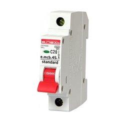 Однополюсный автоматический выключатель 1р, 20А, C, 4.5 кА, e.mcb.stand.45.1.C20