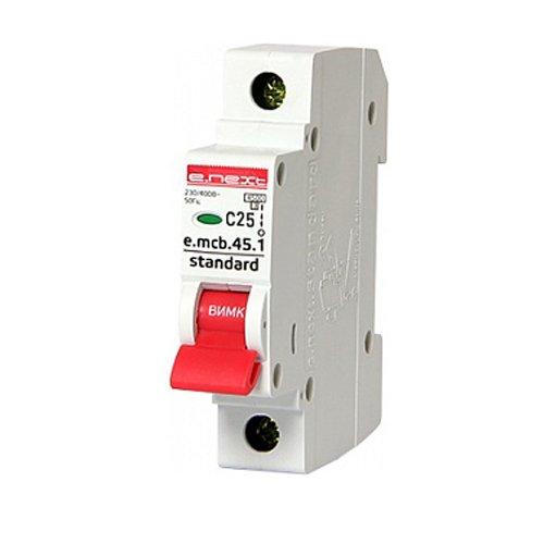 Фото Однополюсный автоматический выключатель 1р, 25А, C, 4.5 кА, e.mcb.stand.45.1.C25 Электробаза