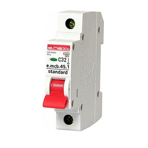 Фото Однополюсный автоматический выключатель 1р, 32А, C, 4.5 кА, e.mcb.stand.45.1.C32 Электробаза