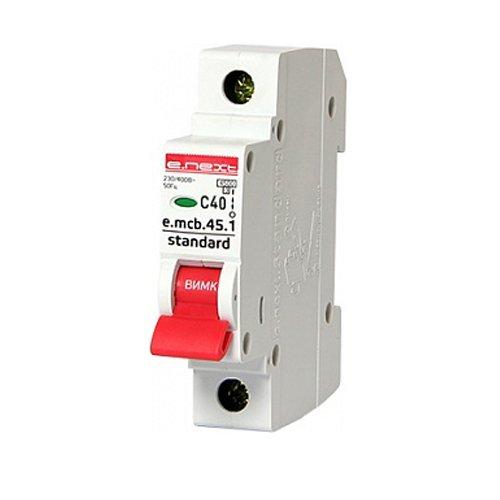 Фото Однополюсный автоматический выключатель 1р, 40А, C, 3,0 кА, e.mcb.stand.45.1.C40 Электробаза