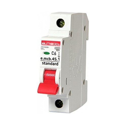 Фото Однополюсный автоматический выключатель 1р, 6А, C, 4.5 кА, e.mcb.stand.45.1.C6 Электробаза