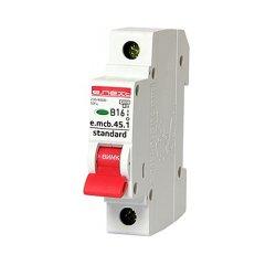 Однополюсный автоматический выключатель 1р, 16А, В, 4.5 кА, e.mcb.stand.45.1.B16