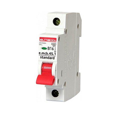 Фото Однополюсный автоматический выключатель 1р, 16А, В, 4.5 кА, e.mcb.stand.45.1.B16 Электробаза