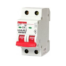 Двухполюсный автоматический выключатель 2р, 25А, C, 4.5 кА, e.mcb.stand.45.2.C25