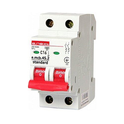 Фото Двухполюсный автоматический выключатель 2р, 16А, C, 4.5 кА, e.mcb.stand.45.2.C16 Электробаза