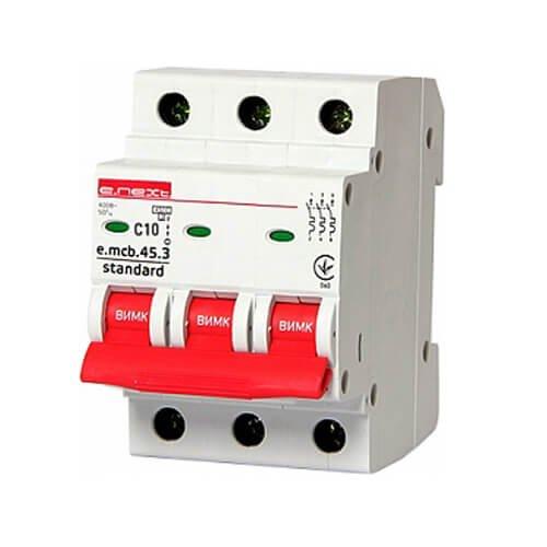 Фото Трёхфазный автоматический выключатель 3р, 10А, C, 4.5 кА, e.mcb.stand.45.3.C10 Электробаза