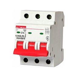 Трёхфазный автоматический выключатель 3р, 16А, C, 4.5 кА, e.mcb.stand.45.3.C16