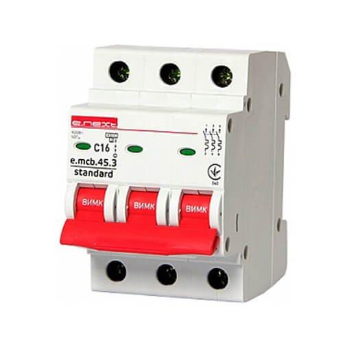 Фото Трёхфазный автоматический выключатель 3р, 16А, C, 4.5 кА, e.mcb.stand.45.3.C16 Электробаза