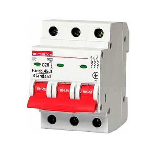 Фото Трёхфазный автоматический выключатель 3р, 20А, C, 4.5 кА, e.mcb.stand.45.3.C20 Электробаза