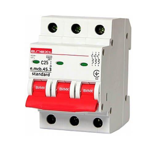 Фото Трёхфазный автоматический выключатель 3р, 25А, C, 4.5 кА, e.mcb.stand.45.3.C25 Электробаза