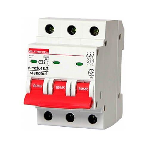 Фото Трёхфазный автоматический выключатель 3р, 32А, C, 4.5 кА, e.mcb.stand.45.3.C32 Электробаза