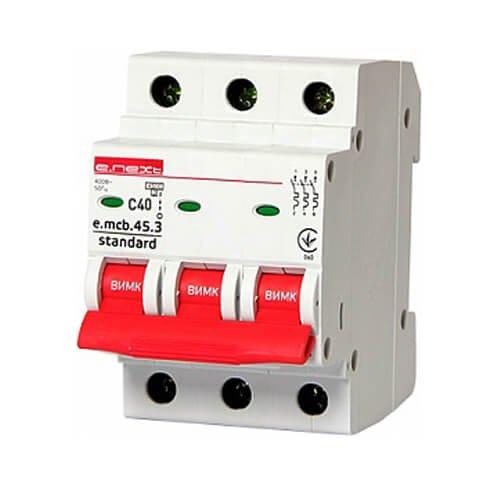 Фото Трёхфазный автоматический выключатель 3р, 40А, C, 3,0 кА, e.mcb.stand.45.3.C40 Электробаза