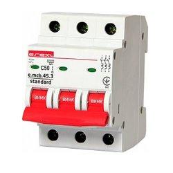 Трёхфазный автоматический выключатель 3р, 50А, C, 3,0 кА, e.mcb.stand.45.3.C50