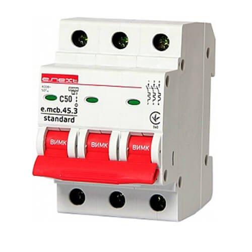 Фото Трёхфазный автоматический выключатель 3р, 50А, C, 3,0 кА, e.mcb.stand.45.3.C50 Электробаза