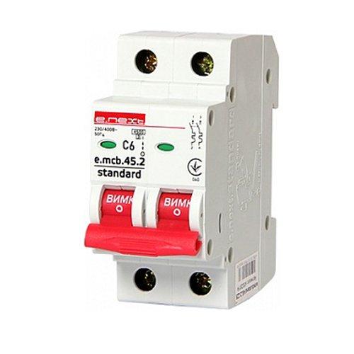 Фото Двухполюсный автоматический выключатель 2р, 6А, C, 4.5 кА, e.mcb.stand.45.2.C6 Электробаза