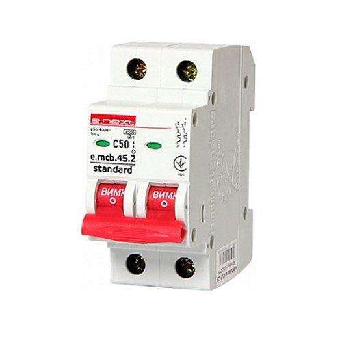 Фото Двухполюсный автоматический выключатель 2р, 50А, C, 3,0 кА, e.mcb.stand.45.2.C50 Электробаза