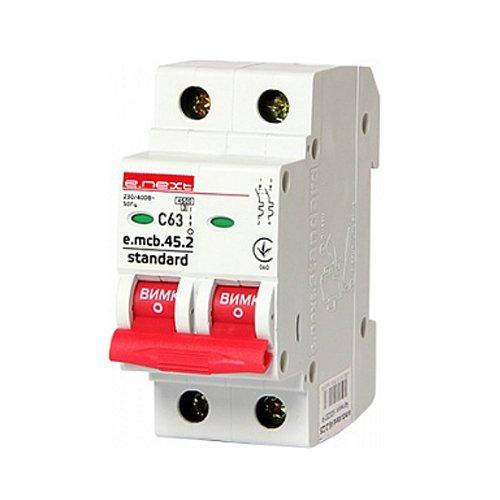 Фото Двухполюсный автоматический выключатель 2р, 63А, C, 3,0 кА, e.mcb.stand.45.2.C63 Электробаза