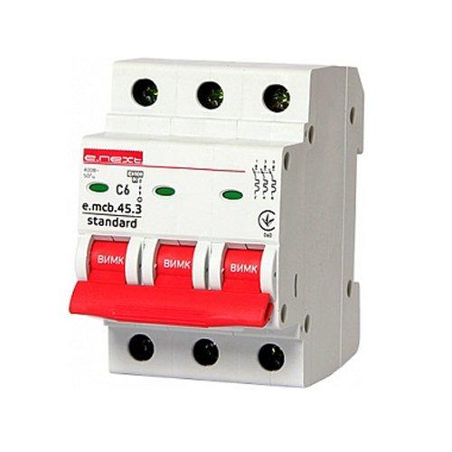 Фото Трёхфазный автоматический выключатель 3р, 6А, C, 4.5 кА, e.mcb.stand.45.3.C6 Электробаза