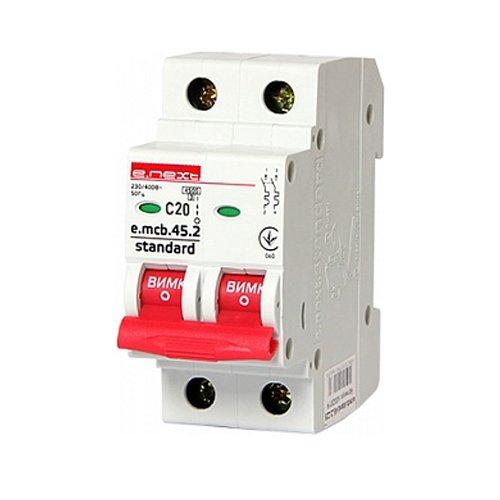 Фото Двухполюсный автоматический выключатель 2р, 20А, C, 4.5 кА, e.mcb.stand.45.2.C20 Электробаза