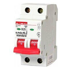 Двухполюсный автоматический выключатель 2р, 25А, В, 4.5 кА, e.mcb.stand.45.2.B25