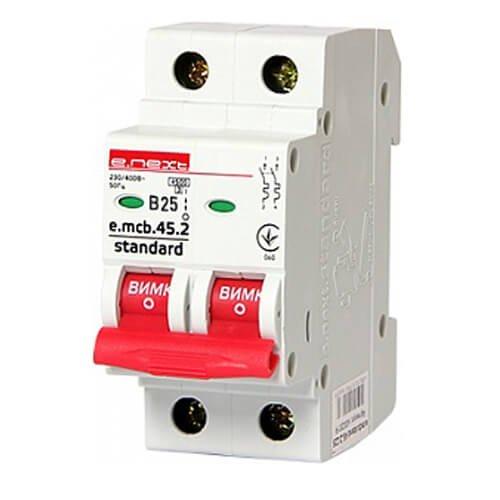 Фото Двухполюсный автоматический выключатель 2р, 25А, В, 4.5 кА, e.mcb.stand.45.2.B25 Электробаза