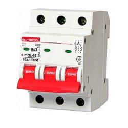 Трёхфазный автоматический выключатель 3р, 63А, В, 3,0 кА, e.mcb.stand.45.3.B63