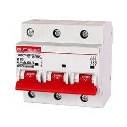 Трёхфазный автоматический выключатель 3р, 80А, K, 6кА new, e.mcb.pro.60.3.K 80 new