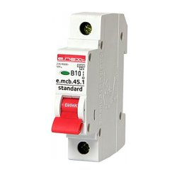 Однополюсный автоматический выключатель 1р, 10А, В, 4.5 кА, e.mcb.stand.45.1.B10