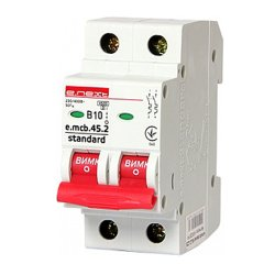 Двухполюсный автоматический выключатель 2р, 10А, В, 4.5 кА, e.mcb.stand.45.2.B10
