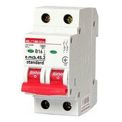 Двухполюсный автоматический выключатель 2р, 16А, В, 4.5 кА, e.mcb.stand.45.2.B16